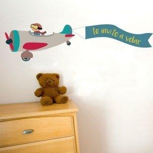 """Vinilo decorativo infantil """"Te invito a volar"""""""
