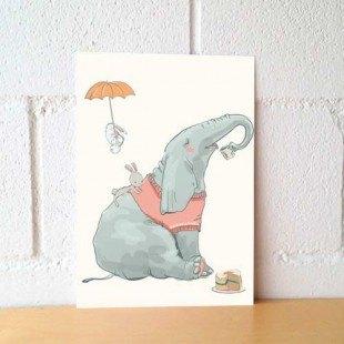 """Lámina decorativa ilustrada """"Elefante feliz"""""""