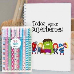 """Paquete cuaderno molón """"Superhéroes"""" + bolis chulos"""