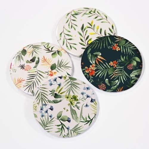 Pack de 4 espejos florales