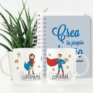 "Pack padres tazas y cuadernos ""Súper padres"""