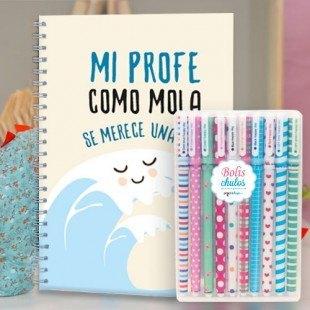 """Paquete cuadernos molones """"Profe mola"""" + bolis colores"""