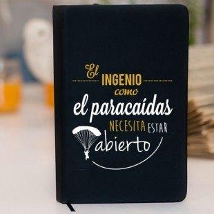 """Libreta personalizada (prodiskine) """"El ingenio es como un paracaídas necesita estar abierto"""""""