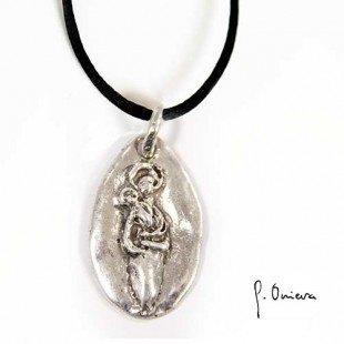 Colgante medalla Virgen Plata
