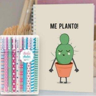 """Paquete de cuaderno personalizado """"Me planto"""" con 10 bolis de colores"""