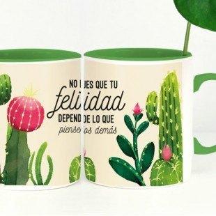 """Taza molona """"Felicidad cactus"""""""