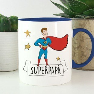 """Tazas divertidas """"Superpapa"""" y """"Supermama"""""""