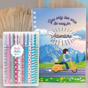"""Paquete de cuaderno molón """"Adventure"""" + 10 bolis chulos"""
