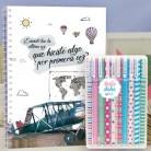 """Paquete de cuaderno molón """"Primera vez"""" con 10 bolis chulos de colores"""