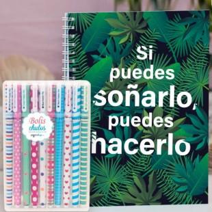 """Paquete de cuaderno artesanal """"Soñarlo"""" + caja 10 bolis colores"""