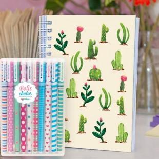 """Paquete de cuaderno """"Cactus"""" + bolis chulos"""