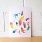 "Lámina decorativa ilustrada ""Plumas de colores"""""
