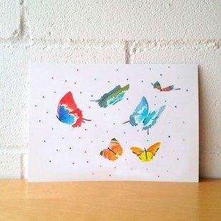 "Lámina ilustrada ""Mariposas de colores"""""