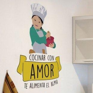 """Vinilo decorativo """"Cocinar con amor alimenta el alma"""""""